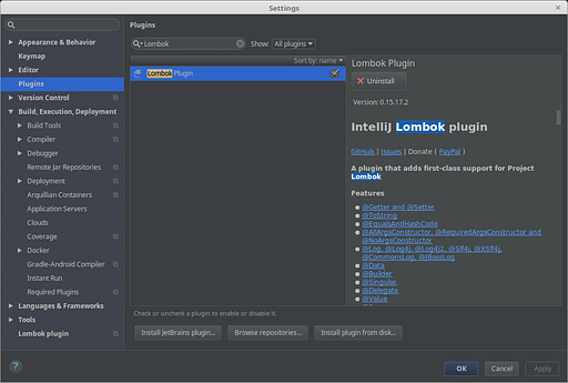 Installing Lombok Plugin in the IDE