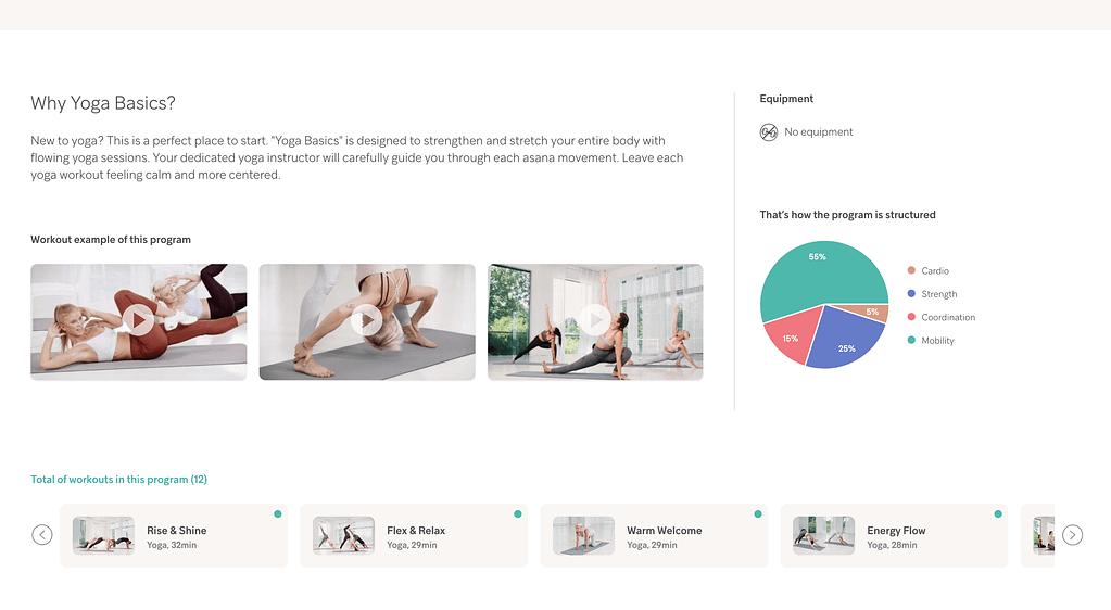 Building online fitness applications - Gymondo fitness app - yoga course description