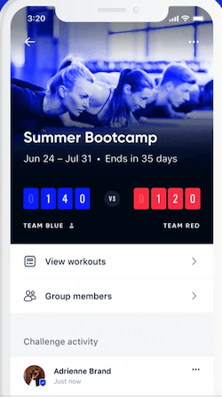 Building online fitness applications - Aaptiv fitness app - group challenge