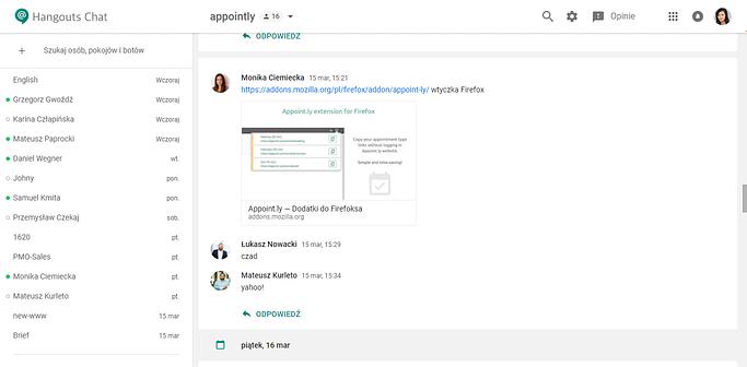 Hangouts Chat screenshot